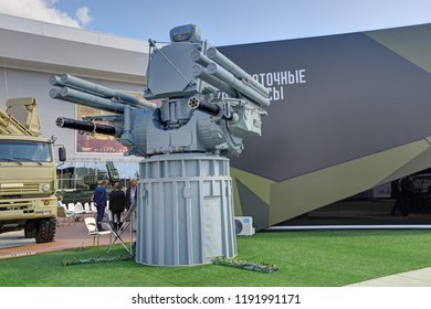 "KUBINKA, MOSCOW OBLAST, RUSSIA - AUG 22, 2018: Pantsir-ME - ship-borne anti-aircraft missile-artillery complex at the International military-technical forum ARMY-2018 in military Park ""Patriot"""