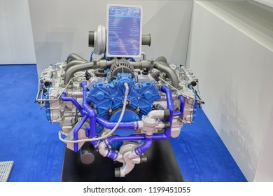 KUBINKA, MOSCOW OBLAST, RUSSIA - AUG 21, 2018: The six-cylinder flat aircraft engine at the International military-technical forum ARMY-2018 in military park Patriot