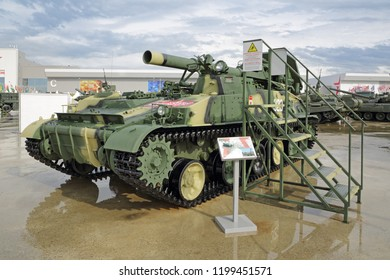 "KUBINKA, MOSCOW OBLAST, RUSSIA - AUG 21, 2018: 2S4 Tyulpan is a Soviet 240mm self-propelled mortar at the International military-technical forum ARMY-2018 in military Park ""Patriot"""