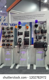 KUBINKA, MOSCOW OBLAST, RUSSIA - AUG 21, 2018: Integrated battery-free telephone and speakerphone systems at the International military-technical forum ARMY-2018 in military park Patriot