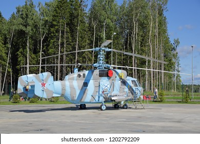 KUBINKA, MOSCOW OBLAST, RUSSIA - AUG 22, 2018: The Kamov Ka-29 (Helix-B) - Russian ship transport and combat helicopter at the International military-technical forum ARMY-2018 in military park Patriot