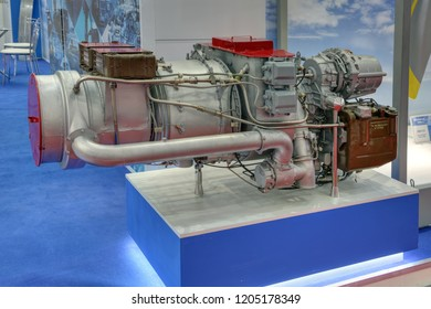 KUBINKA, MOSCOW OBLAST, RUSSIA - AUG 21, 2018: Auxiliary gas turbine engine TA18-200MS for medium-range aircraft MS-21 at the International military-technical forum ARMY-2018