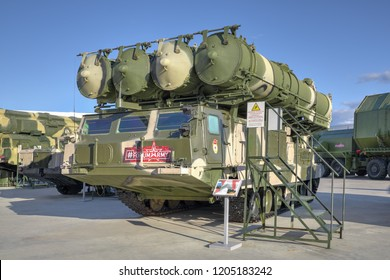 KUBINKA, MOSCOW OBLAST, RUSSIA - AUG 22, 2018: Canoniac launcher air defense S-300 (NATO reporting name SA-10 Grumble) at the International military-technical forum ARMY-2018