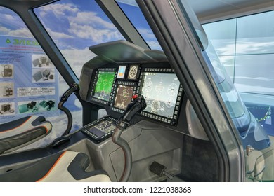 KUBINKA, MOSCOW OBLAST, RUSSIA - AUG 21, 2018: Modern on-Board situational awareness system on Board the helicopter at the International military-technical forum ARMY-2018 in military park Patriot