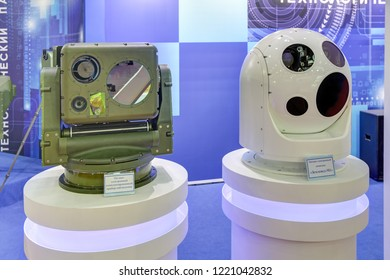 KUBINKA, MOSCOW OBLAST, RUSSIA - AUG 22, 2018: Optoelectronic surveillance systems for round-the-clock monitoring at the International military-technical forum ARMY-2018