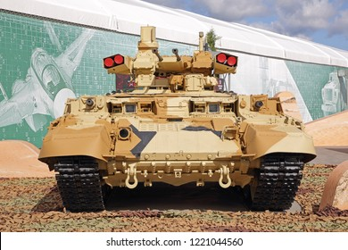 "KUBINKA, MOSCOW OBLAST, RUSSIA - AUG 22, 2018: International military-technical forum ARMY-2018. The exposition of the Uralvagonzavod plant. The fire support combat vehicle BMPT ""Terminator"""