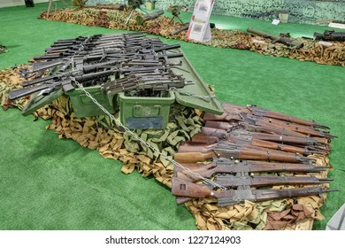 KUBINKA, MOSCOW OBLAST, RUSSIA - AUG 22, 2018: International military-technical forum ARMY-2018. Syrian exhibition. Small arms seized from the terrorists in Syria