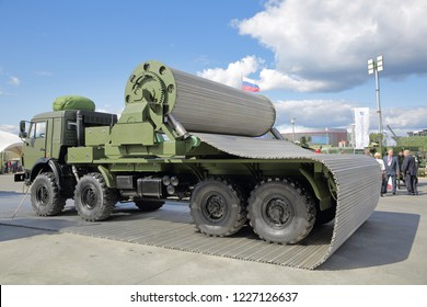 KUBINKA, MOSCOW OBLAST, RUSSIA - AUG 22, 2018: The KVD multi-purpose motorized rapid service roadway deployment system at the International military-technical forum ARMY-2018
