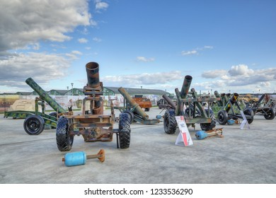 KUBINKA, MOSCOW OBLAST, RUSSIA - AUG 22, 2018: International military-technical forum ARMY-2018. Syrian exhibition. Hand-made mortars seized from the terrorists in Syria