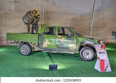KUBINKA, MOSCOW OBLAST, RUSSIA - AUG 22, 2018: International military-technical forum ARMY-2018. Syrian exhibition. Off-road vehicle with artisanal-mounted NURS unit captured from terrorists in Syria