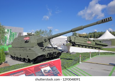 KUBINKA, MOSCOW OBLAST, RUSSIA - AUG 22, 2018: The 2S35 Koalitsiya-SV is a Russian 152-mm self-propelled howitzer army artillery at the International military-technical forum ARMY-2018