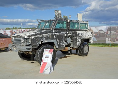 "KUBINKA, MOSCOW OBLAST, RUSSIA - AUG 22, 2018: International military-technical forum ARMY-2018. Syrian exhibition. Canadian mine protected armoured ""RG-31"" Nyala, captured from terrorists in Syria"