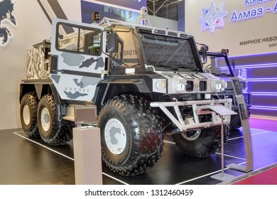 KUBINKA, MOSCOW OBLAST, RUSSIA - AUG 21, 2018: Three-axle all-terrain vehicle KRECHET at the International military-technical forum ARMY-2018