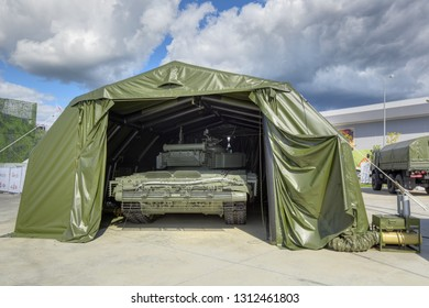 KUBINKA, MOSCOW OBLAST, RUSSIA - AUG 22, 2018: Pre-fabricated inflatable hangar for repair and maintenance of military equipment at the International military-technical forum ARMY-2018