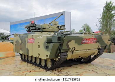 KUBINKA, MOSCOW OBLAST, RUSSIA - AUG 21, 2018: The infantry combat vehicle B-11 on the basis of a promising platform medium tracked Kurganets-25