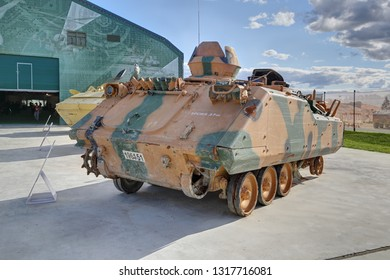 KUBINKA, MOSCOW OBLAST, RUSSIA - AUG 22, 2018: International military-technical forum ARMY-2018. Syrian exhibition. Turkish infantry fighting vehicle ACV-15, captured from terrorists in Syria