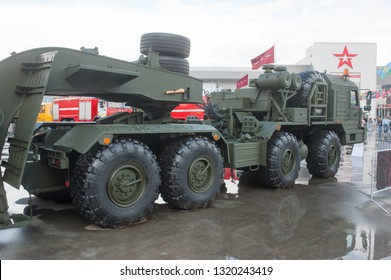 """KUBINKA, MOSCOW OBLAST, RUSSIA - Aug 24, 2017: Russian truck tractor BAZ-6403 """"Voschina"""", in the Park """"Patriot"""", international military-technical forum ARMY-2017, right view"""