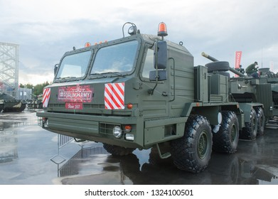 """KUBINKA, MOSCOW OBLAST, RUSSIA - Aug 24, 2017: Russian truck tractor BAZ-6403 """"Voschina-1"""", in the Park """"Patriot"""", international military-technical forum ARMY-2017, left view"""