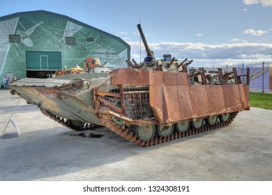 KUBINKA, MOSCOW OBLAST, RUSSIA - AUG 22, 2018: International military-technical forum ARMY-2018. Syrian exhibition. Soviet amphibious infantry fighting vehicle, captured from terrorists in Syria