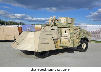 KUBINKA, MOSCOW OBLAST, RUSSIA - AUG 22, 2018: International military-technical forum ARMY-2018. Syrian exhibition. Homemade remade armored Hummer captured from terrorists in Syria