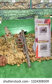 KUBINKA, MOSCOW OBLAST, RUSSIA - AUG 22, 2018: International military-technical forum ARMY-2018. Syrian exhibition. Homemade MLRS (1 guiding) captured from terrorists in Syria