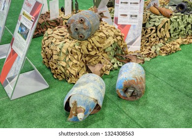 KUBINKA, MOSCOW OBLAST, RUSSIA - AUG 22, 2018: International military-technical forum ARMY-2018. Syrian exhibition. Homemade shells for mortars made of gas cylinders, captured from terrorists in Syria