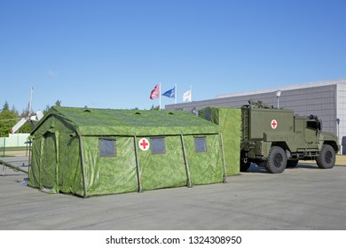 KUBINKA, MOSCOW OBLAST, RUSSIA - AUG 22, 2018: International military-technical forum ARMY-2018. Medical point battalion on the basis of a рrotected ambulance tactical link Linza (medical transporter)