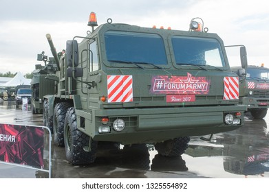 """KUBINKA, MOSCOW OBLAST, RUSSIA - Aug 24, 2017: Russian truck tractor BAZ-6403 """"Voschina-1"""", in the Park """"Patriot"""", international military-technical forum ARMY-2017, front view"""