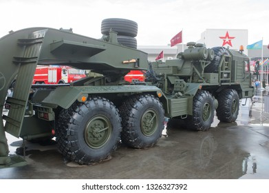"""KUBINKA, MOSCOW OBLAST, RUSSIA - Aug 24, 2017: Russian truck tractor BAZ-6403 """"Voschina-1"""", in the Park """"Patriot"""", international military-technical forum ARMY-2017, right view"""
