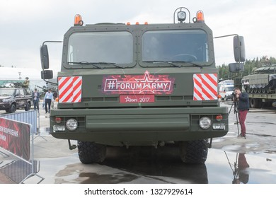 """KUBINKA, MOSCOW OBLAST, RUSSIA - Aug 24, 2017: Russian truck tractor BAZ-6403 """"Voschina"""", in the Park """"Patriot"""", international military-technical forum ARMY-2017, front view"""