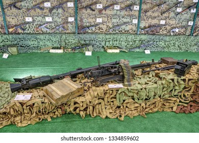 KUBINKA, MOSCOW OBLAST, RUSSIA - AUG 22, 2018: International military-technical forum ARMY-2018. Syrian exhibition. Weapons seized from terrorists in Syria