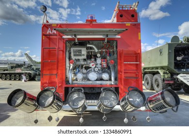 KUBINKA, MOSCOW OBLAST, RUSSIA - AUG 22, 2018: AA-8-60 Airdrome rescue and fire-fighting vehicle at the International military-technical forum ARMY-2018 in military-Patriotic park