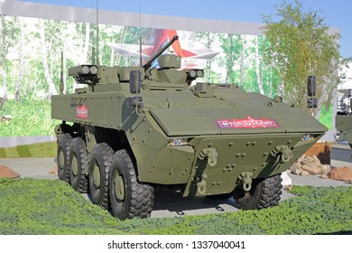 KUBINKA, MOSCOW OBLAST, RUSSIA - AUG 22, 2018: The Bumerang is an amphibious wheeled armored personnel carrier at the International military-technical forum ARMY-2018