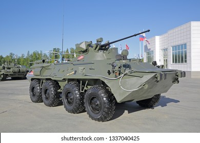 """KUBINKA, MOSCOW OBLAST, RUSSIA - AUG 22, 2018: Armored personnel carrier BTR-82 at the International military-technical forum ARMY-2018 in military-Patriotic park """"Patriot"""""""