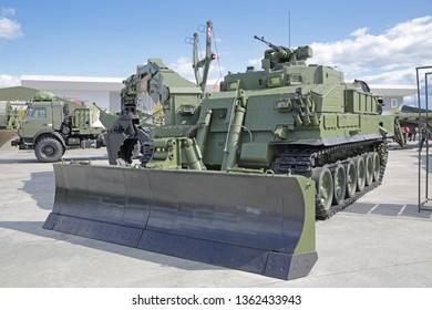 KUBINKA, MOSCOW OBLAST, RUSSIA - AUG 22, 2018: International military-technical forum ARMY-2018 in military-Patriotic park. Universal armored engineering vehicle UBIN