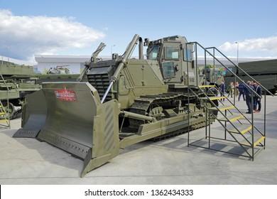 KUBINKA, MOSCOW OBLAST, RUSSIA - AUG 22, 2018: International military-technical forum ARMY-2018 in military-Patriotic park. Armoured bulldozer B10M2.5000S3-E1E