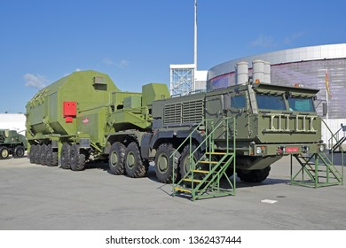 """KUBINKA, MOSCOW OBLAST, RUSSIA - AUG 22, 2018: Isothermal transport and docking unit missile complex RS-28 """"Sarmat"""" (Satan-2) at the International military-technical forum ARMY-2018"""