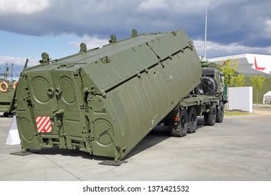 """KUBINKA, MOSCOW OBLAST, RUSSIA - AUG 22, 2018: International military-technical forum ARMY-2018. """"PP-2005"""" pontoon vehicle with interior bay of pontoon park on the basis of the KAMAZ truck"""