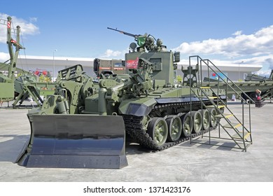 KUBINKA, MOSCOW OBLAST, RUSSIA - AUG 22, 2018: International military-technical forum ARMY-2018 in military-Patriotic park. The IMR-3 obstacle-clearing vehicle
