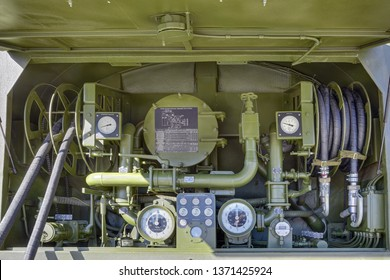 KUBINKA, MOSCOW OBLAST, RUSSIA - AUG 22, 2018: Equipment of the fueling vehicle for group-distribution of fuel at the International military-technical forum ARMY-2018