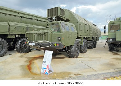 "KUBINKA, MOSCOW OBLAST, RUSSIA - JUN 16, 2015: Truck to ensure alerting of strategic missile complex ""Topol"" (SS-25 Sickle) at the International military-technical forum ARMY-2015"