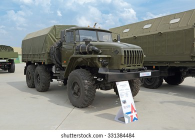 "KUBINKA, MOSCOW OBLAST, RUSSIA - JUN 15, 2015: International military-technical forum ARMY-2015 in military-Patriotic park. The Ural-4320 ""Motovoz"" is a general purpose off-road 6x6 truck"