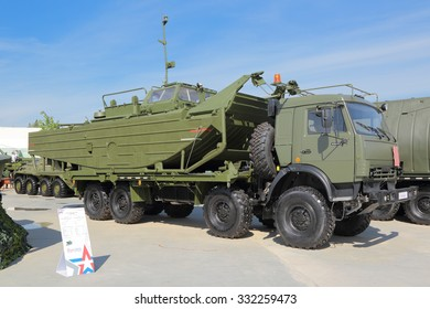KUBINKA, MOSCOW OBLAST, RUSSIA - JUN 19, 2015: International military-technical forum ARMY-2015 in military-Patriotic park. Towing motorboat BMK-460