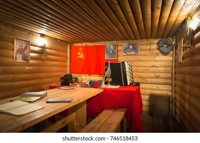 KUBINKA, MOSCOW OBLAST, RUSSIA - JUN 10, 2017: Military-patriotic park Patriot. Reconstruction of a partisan village of the WWII - School of saboteur (dugout).