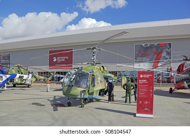 KUBINKA, MOSCOW OBLAST, RUSSIA - SEP 06, 2016: International military-technical forum ARMY-2016. The Kamov Ka-226 is a small, twin-engined Russian utility helicopter