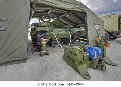 KUBINKA, MOSCOW OBLAST, RUSSIA - SEP 06, 2016: International military-technical forum ARMY-2016. Prefabricated inflatable hangar for repair and maintenance of military equipment