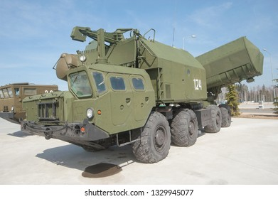 "KUBINKA, MOSCOW REGION, RUSSIA - April 13, 2016 : Soviet mobile coastal missile system ""Rubezh"" 4K51 (SSC-3 ""Styx"") in the new Park ""Patriot"", side view"
