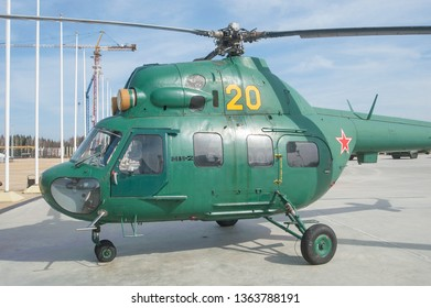 KUBINKA, MOSCOW REGION, RUSSIA - April 13, 2016: Russian military helicopter Mi-2 Hoplite in the military Park Patriot