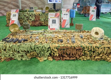KUBINKA, MOSCOW REGION, RUSSIA - AUG 22, 2018: International military-technical forum ARMY-2018. Syrian exhibition. Improvised explosive devices captured from terrorists in Syria