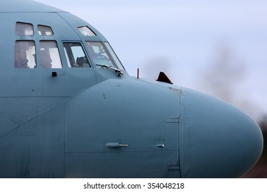 KUBINKA, MOSCOW REGION, RUSSIA - FEBRUARY 19, 2014: Ilyushin Il-20M RF-93610 reconnaissance airplane taxiing at Kubinka air force base.